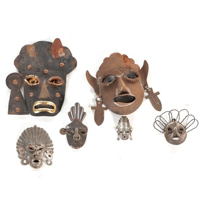 Mexican Tin Tourist Masks, Mid-to-Late 20th Century