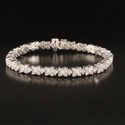 Sterling 3.00 CTW Diamond Floral Link Bracelet