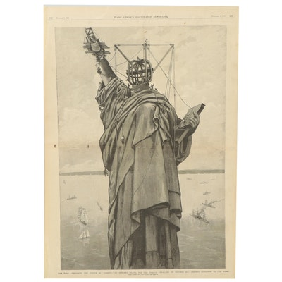 Frank Leslie's Newspaper Front Page Lithograph of Statue of Liberty Construction