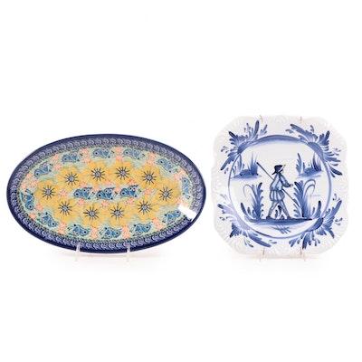 Unikat Polish Hand-Painted Ceramic Tray, Greek Blue and White Decorative Plate