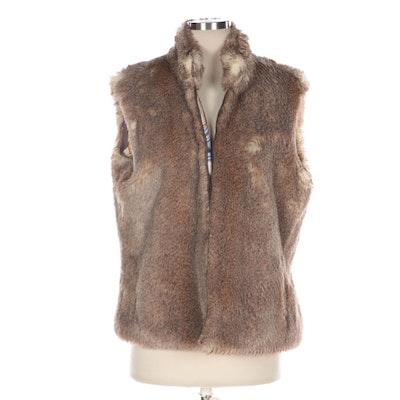 J. McLaughlin Reversible Faux Fur and Equestrian Print Zipper-Front Vest