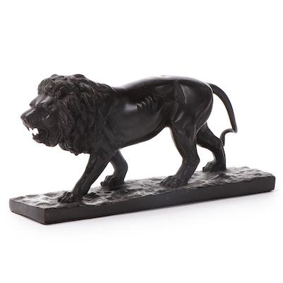 Patinated Cast Metal Lion Statuette After Pierre-Jules Mêne