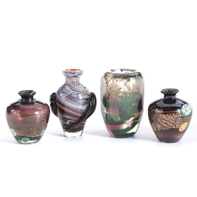 Signed Handblown and Cut Studio Art Glass Vase with Other Art Glass Vases, 1990