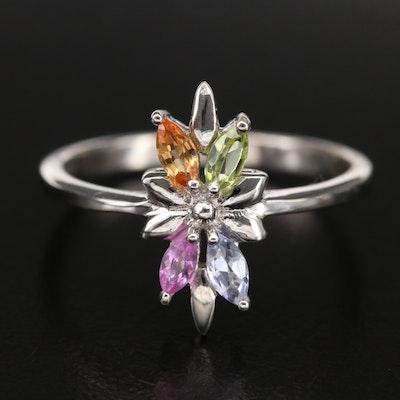 Sterling Peridot, Sapphire and Tanzanite Burst Ring