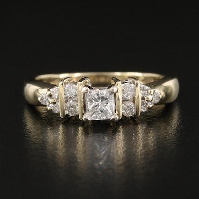 10K Raised Diamond Ring