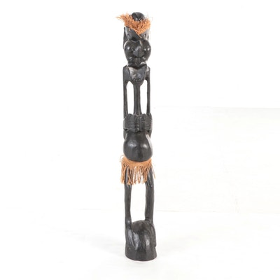 African Style Hand-Carved Wood Figure, Late 20th Century
