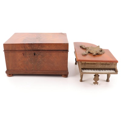 Music Boxes Including Gilt Metal and Bakelite Miniature Grand Piano