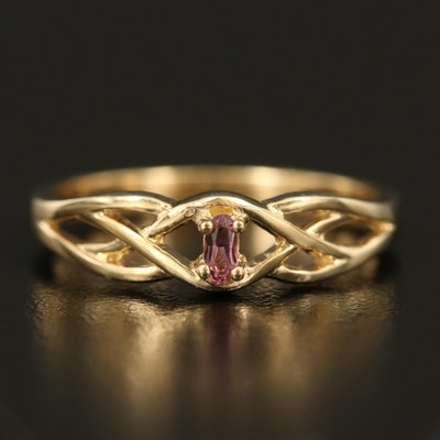 Sterling Tourmaline Openwork Solitaire Ring