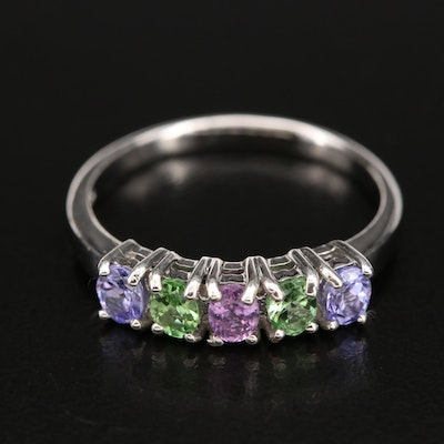 Sterling Five Stone Ring with Sapphire, Tanzanite and Tsavorite