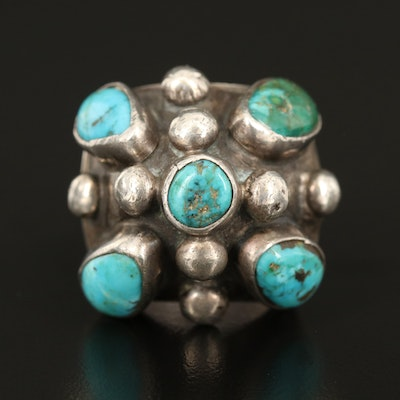 Artisan Signed Sterling Turquoise Dome Ring