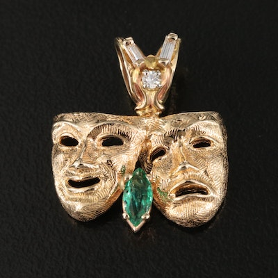 14K Comedy & Tragedy Masks Pendant with Emeralds and Diamonds