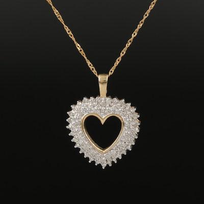 10K 0.33 CTW Diamond Heart Pendant Necklace