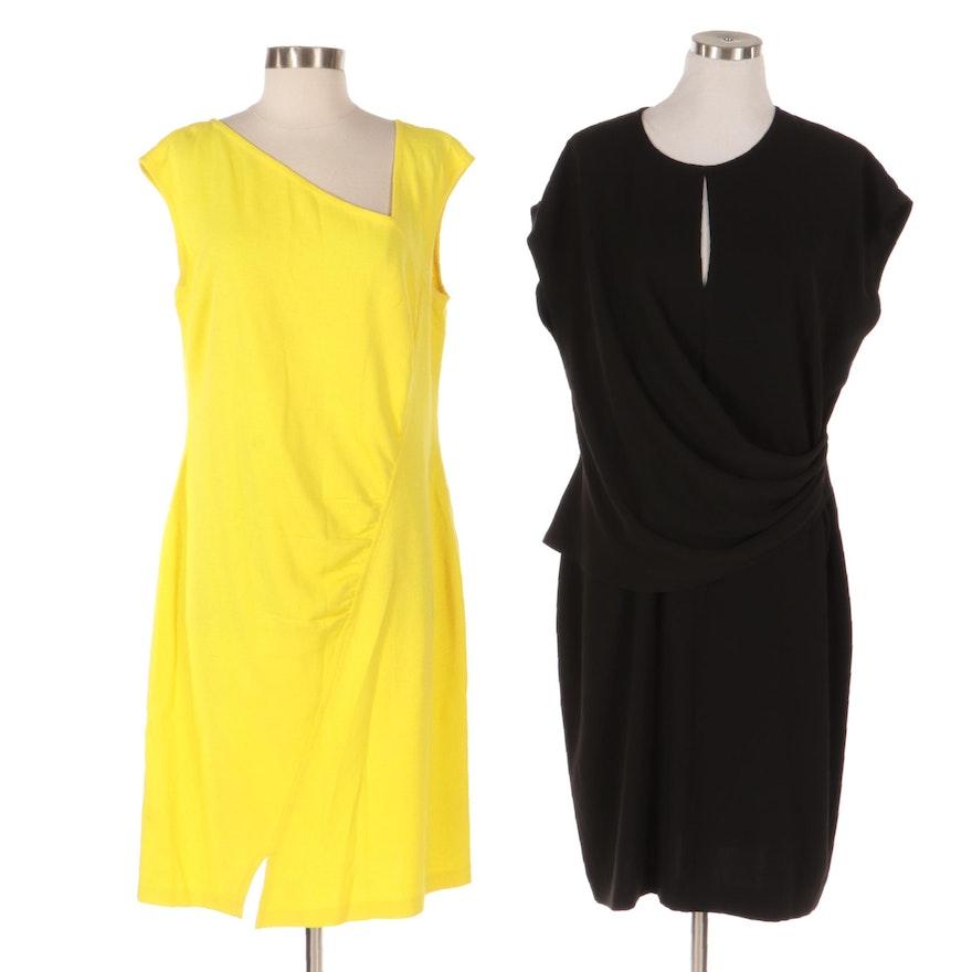 St. John Asymmetrical and Faux Wrap Knit Dresses