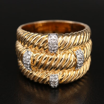 Sterling Diamond Station Ring with Braided Detail