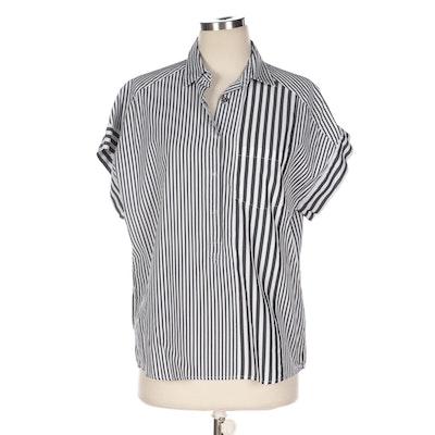Bottega Veneta Black and White Vertical Stripe Top