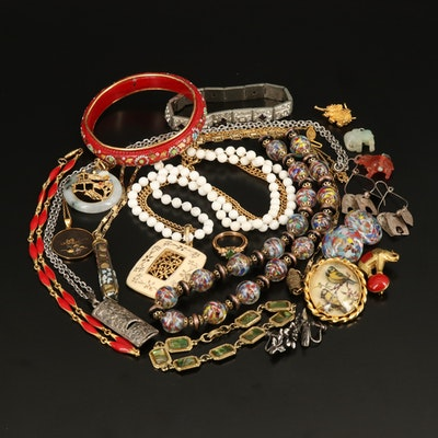 Jewelry Collection with Carved Elephant Pendant and Damascene Necklace
