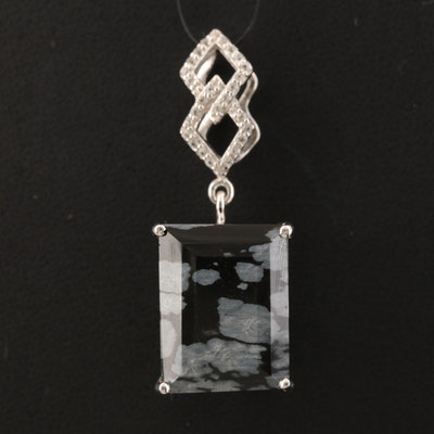Sterling Snowflake Obsidian and Topaz Square Pendant