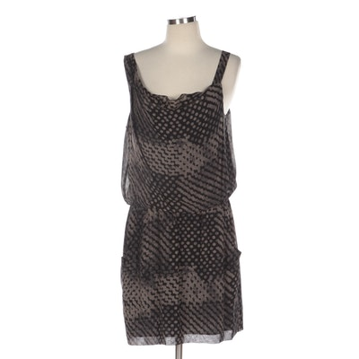 Theory Printed Silk Sleeveless Blouson Dress