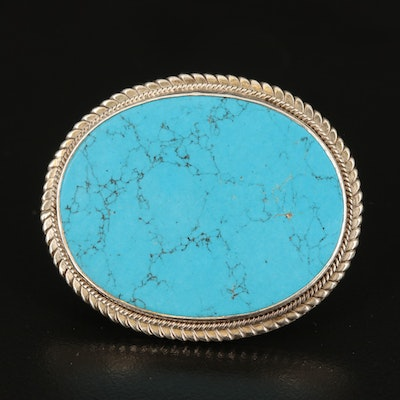 Sterling Faux Turquoise Oval Brooch