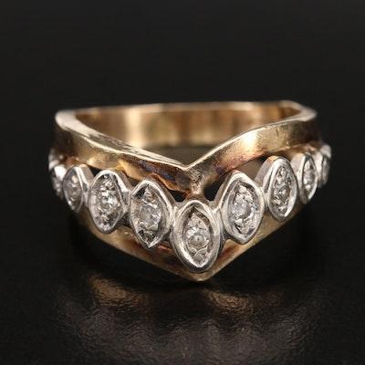 14K 0.19 CTW Diamond Chevron Ring