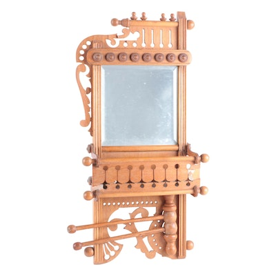 Victorian Eastlake Style Shaving Mirror with Towel Rack and Comb Holder