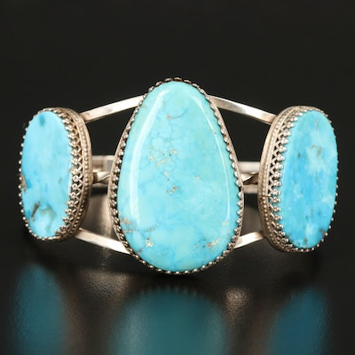 Southwestern Sterling Turquoise Openwork Cuff