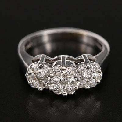 14K 0.75 CTW Diamond Cluster Ring