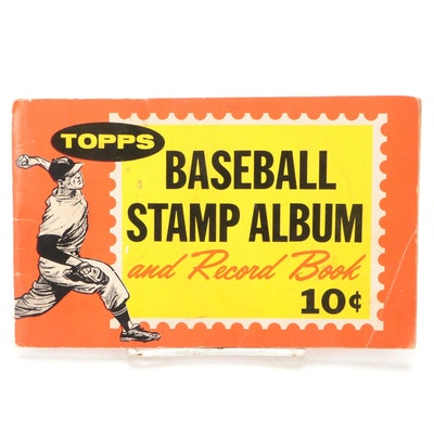 """1962 Topps """"Baseball Stamp Album and Record Book"""" with Player Stamps"""