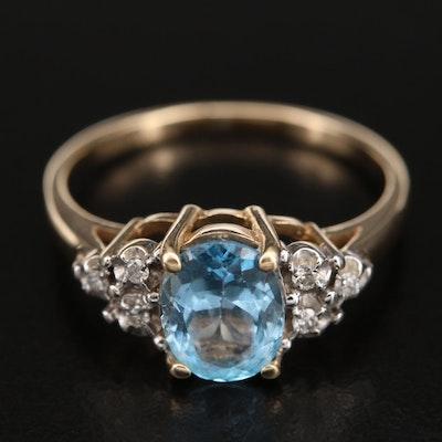10K Topaz Ring with Diamond Shoulders