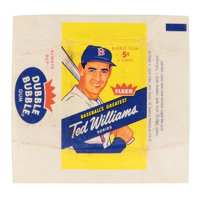 """1959 Fleer """"Ted Williams"""" Baseball Card  5 Cent Wax Pack Wrapper"""