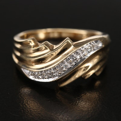 10K 0.02 CTW Diamond Wave Ring with Fluted Shoulders