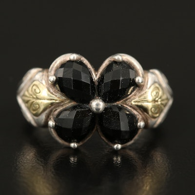 Ann King Sterling Black Onyx Flower Ring with 18K Green Gold Accent