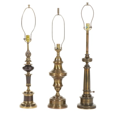 Three Brass and Bronze Table Lamps, Late 20th Century