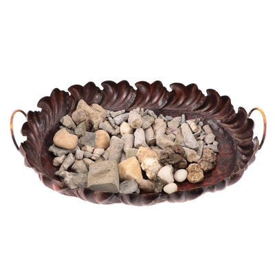 Scalloped Edge Metal Centerpiece Tray with Stones and Fossil Specimens
