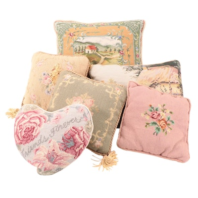 Needlepoint and Velvet Accent and Throw Pillows
