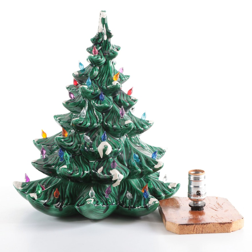 Atlantic Mold Illuminated Ceramic Tree with Wooden Base