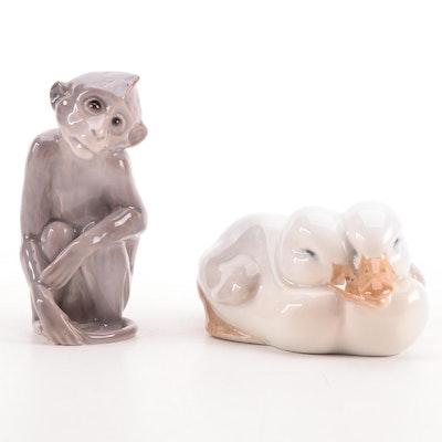 "Royal Copenhagen ""Pair of Ducklings"" with Bing & Grøndahl Porcelain Figurines"