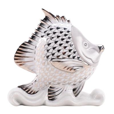 "Herend Black and Platinum Fishnet ""Tropical Fish"" Porcelain Figurine"