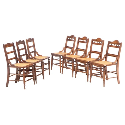 Seven Victorian Walnut and Caned Side Chairs, Late 19th Century