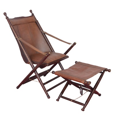 Palecek National Geographic Home Campaign Style Folding Chair and Stool