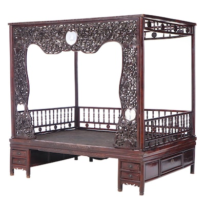 Late Qing Carved Hardwood and Glass Marriage Bed, Late 19th/Early 20th Century