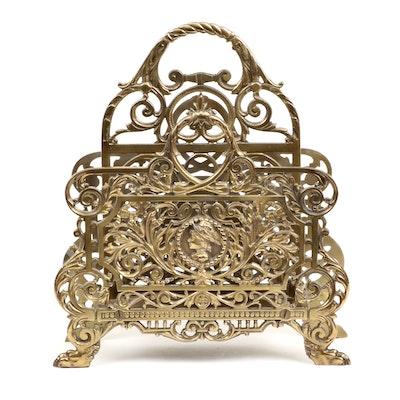 Bradley & Hubbard Victorian Style Brass Desk Letter Caddy