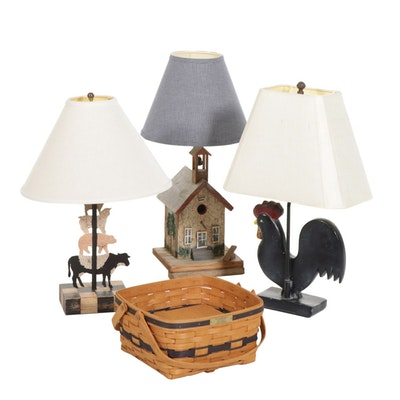 American Folk Art Table Lamps with Longaberger Cake Basket