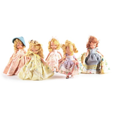 Nancy Ann Storybook Dolls Bisque with Hinged Arms, Vintage