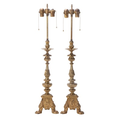 Pair of Neoclassical Acanthus Leaf and Claw Footed Brass Candlestick Lamps