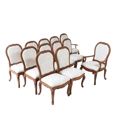 Twelve French Provincial Style Custom-Upholstered Hardwood Dining Chairs
