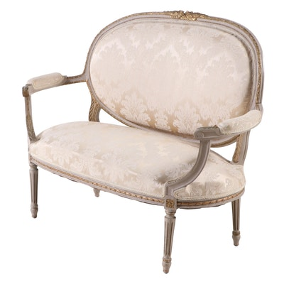 Louis XVI Style Painted, Parcel-Gilt, & Damask-Upholstered Settee, 20th Century