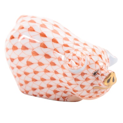 """Herend Rust Fishnet with Gold """"Portly Pig"""" Porcelain Figurine"""