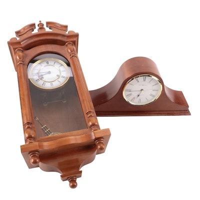 Emperor German Walnut Wood Wall Clock with Howard Miller Tambour Clock