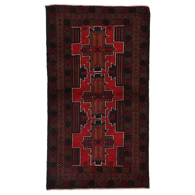 2'9 x 4'10 Hand-Knotted Afghan Baluch Accent Rug